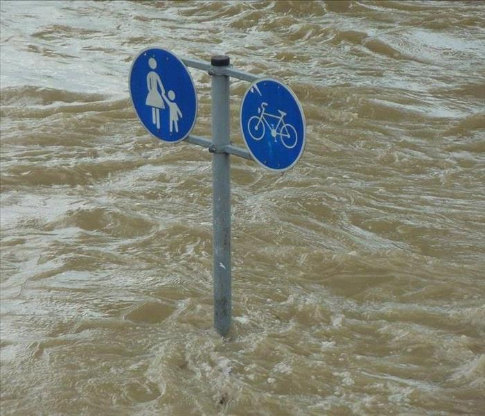 Flood waters nearly to the top of a blue road sign