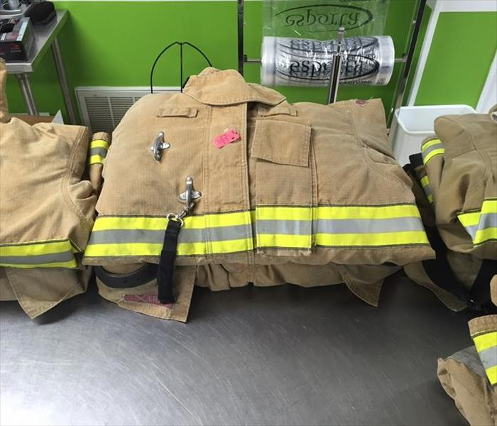 Folded firefighter turnout gear