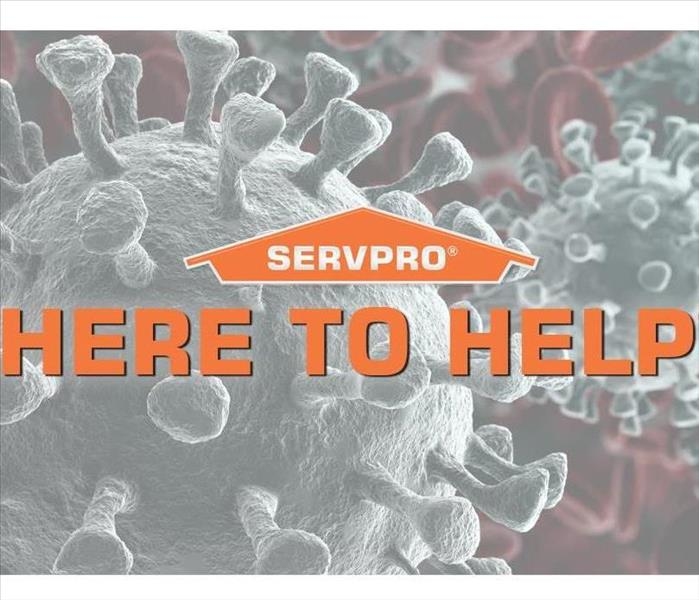 "SERVPRO logo with word ""Here to Help"" superimposed over background of viruses"